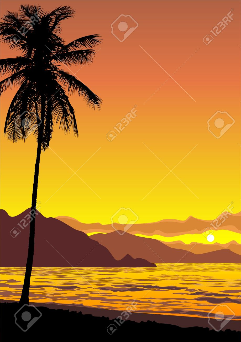 vector illustration of a tropical ocean sunset Stock Vector - 3858369