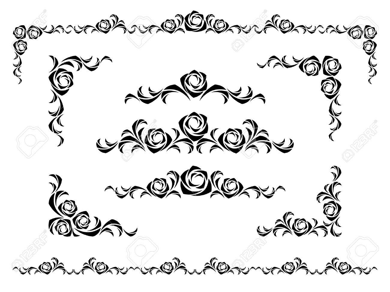 set of design elements with roses Stock Vector - 3947462