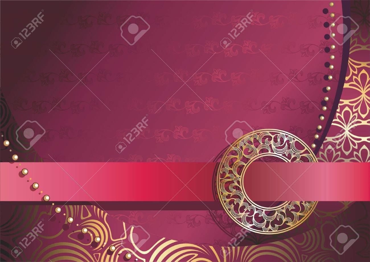 red background with gold ornamental buckle Stock Vector - 4682025