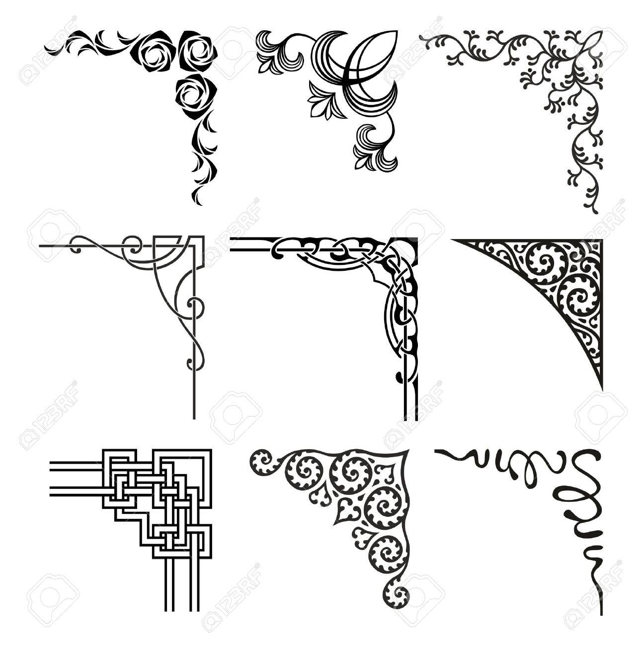 set of ornamental corners in different style royalty free cliparts rh 123rf com fancy border vector free fancy border vector art