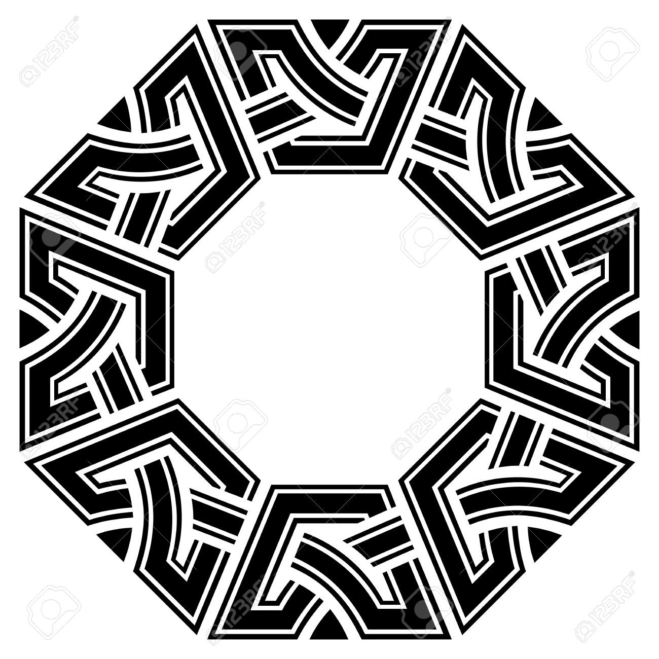 Ornamental Octagon Celtic Frame, Black On White Royalty Free ...