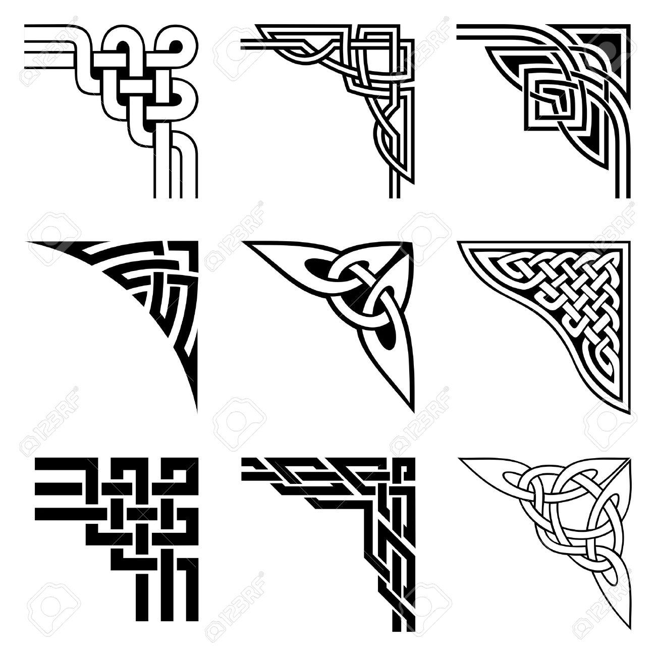 set of ornamental corners in celtic style - 34040105