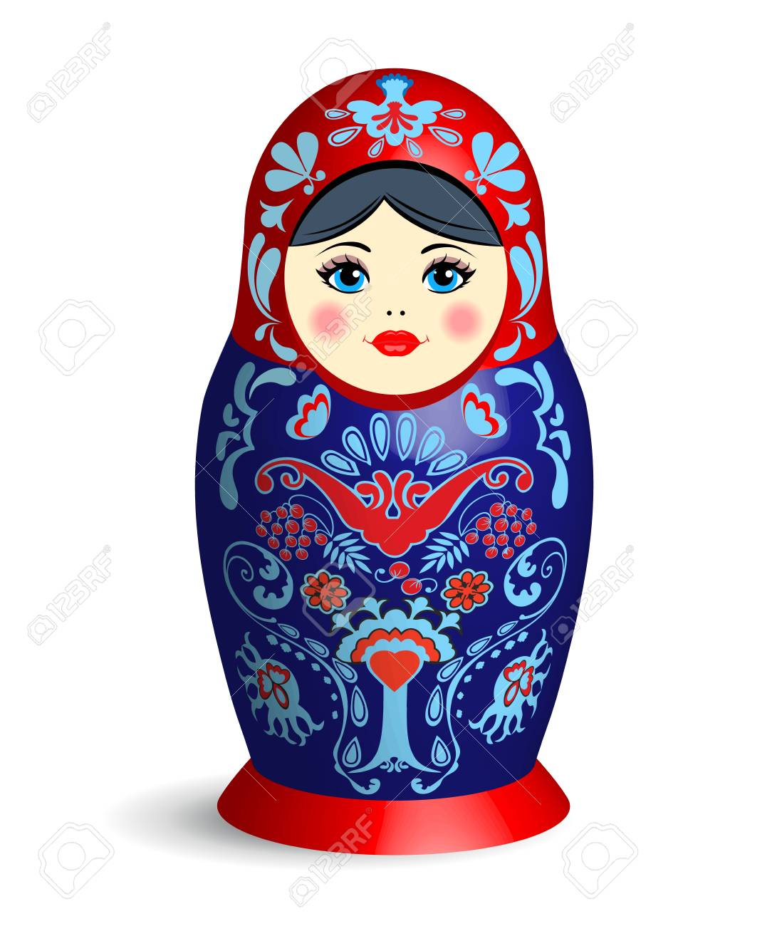 Realistic Blue Red Russian Nesting Doll With Shadow On White Background National Symbol