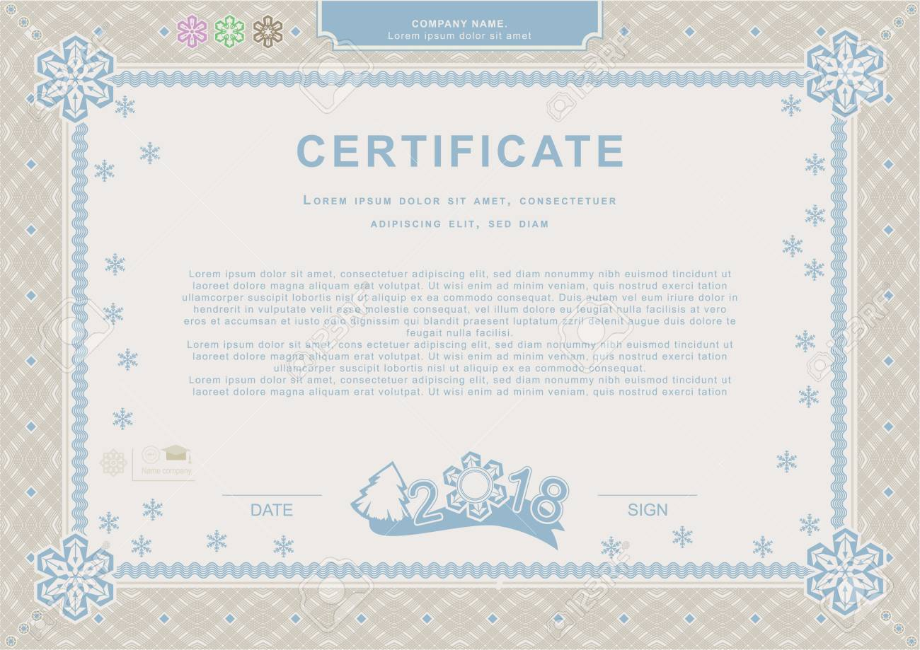 Beige Blue Official Christmas Certificate Xmas Official Background
