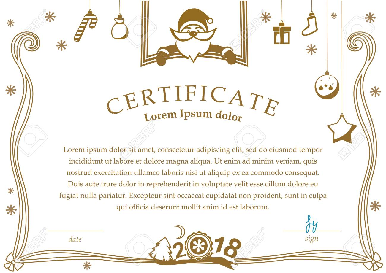 Christmas Certificate.Christmas Certificate Santa And Christmas Decorations On White