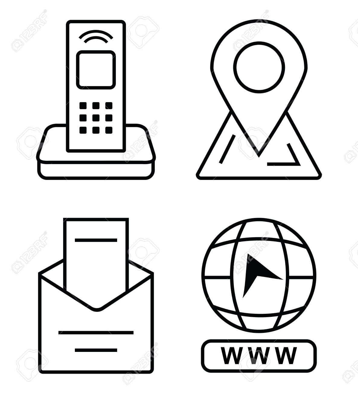 Thin Icons For Business Card Office Phone Marker On The Map