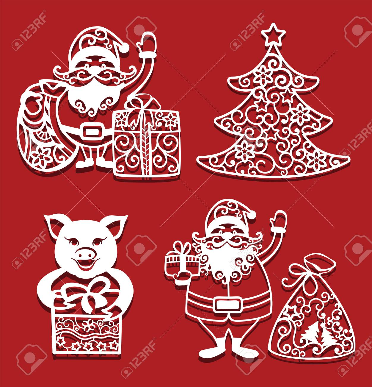 Santa Claus Holding Christmas Bag And Gift Pig With Gift Fir Royalty Free Cliparts Vectors And Stock Illustration Image 127157802