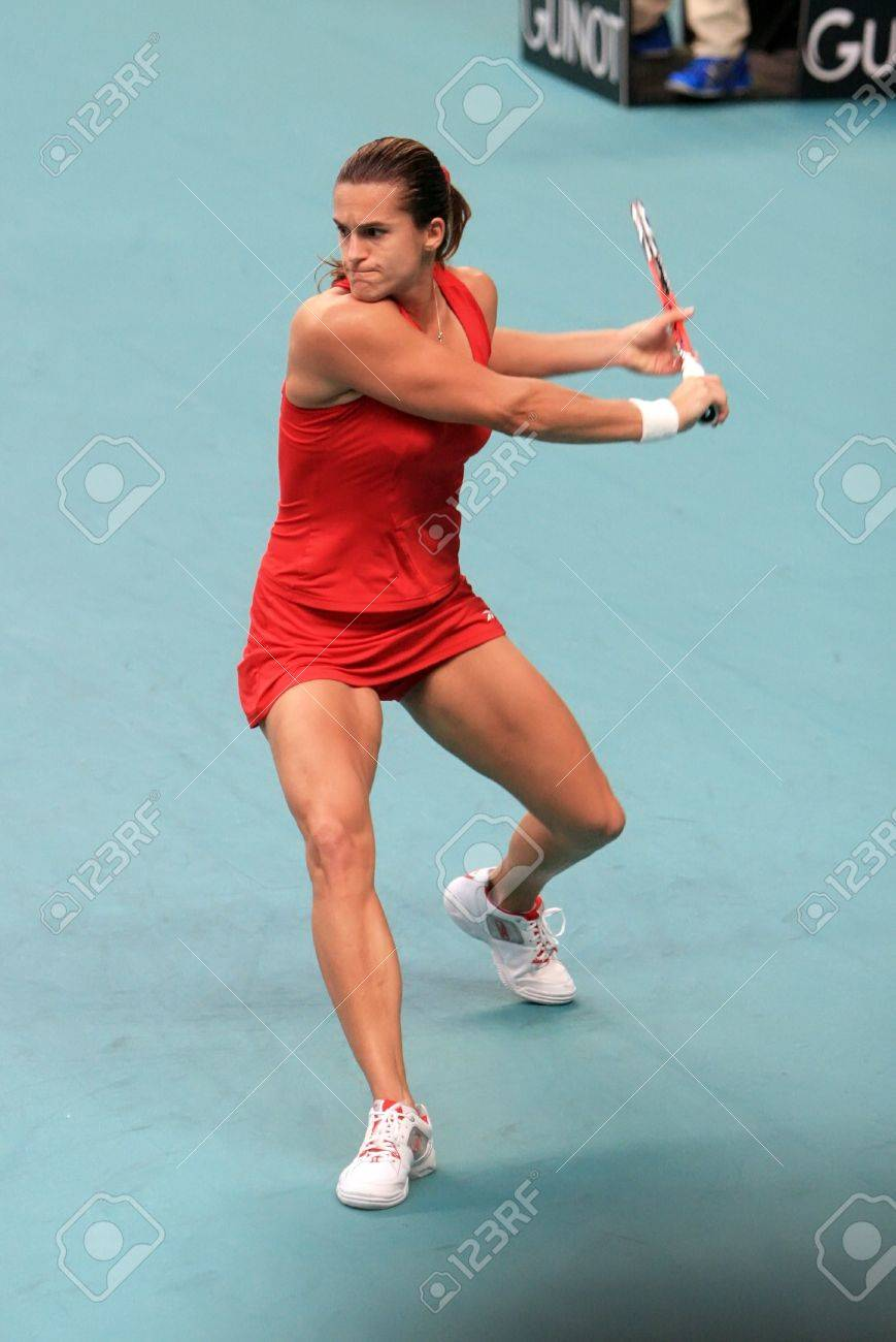 PARIS FEBRUARY 11 French Tennis Player Amelie Mauresmo Prepares