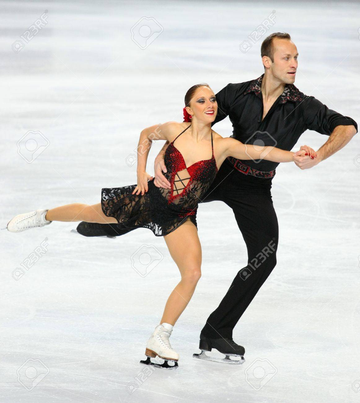 PARIS - NOVEMBER 26: Maylin HAUSCH and Daniel WENDE of Germany perform during pairs short skating event at Eric Bompard Trophy on November 26, 2010 at Palais-Omnisports de Bercy, Paris, France. Stock Photo - 8335483