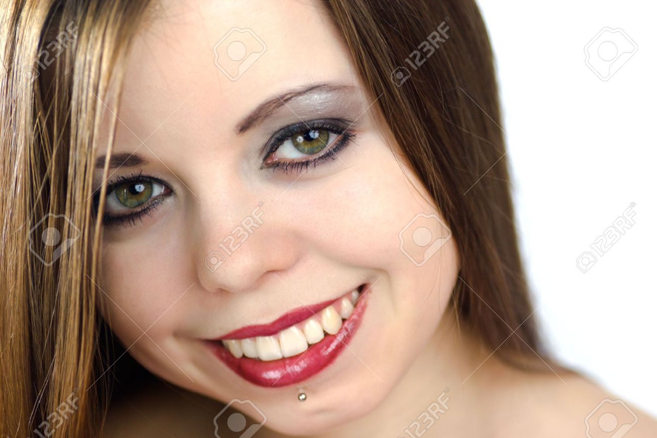 Happy young woman with piercing under her lip Stock Photo - 2025509