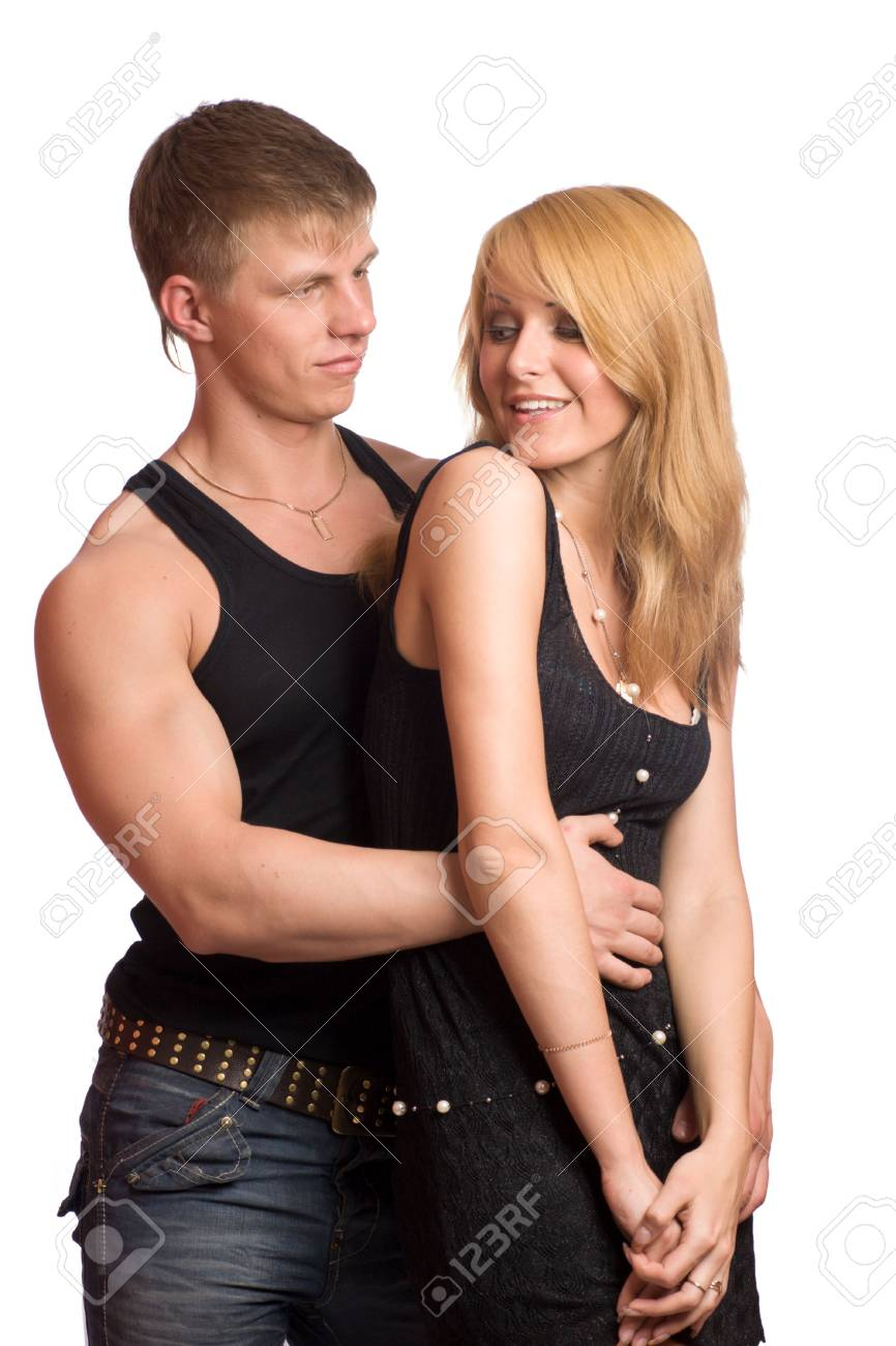 Young blond beautiful couple isolated on white Stock Photo - 3219084