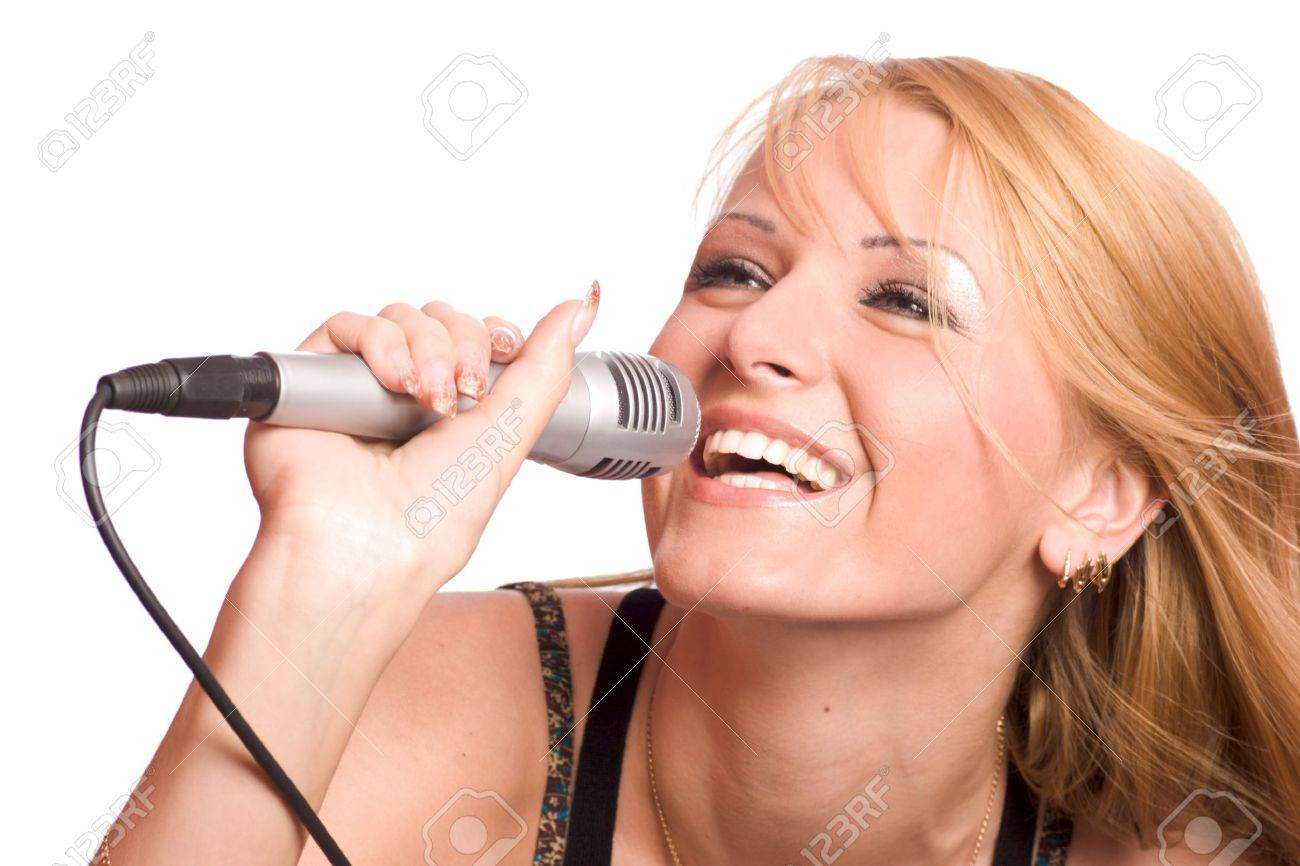 Young beautiful blond girl singing isolated on white Stock Photo - 3297737