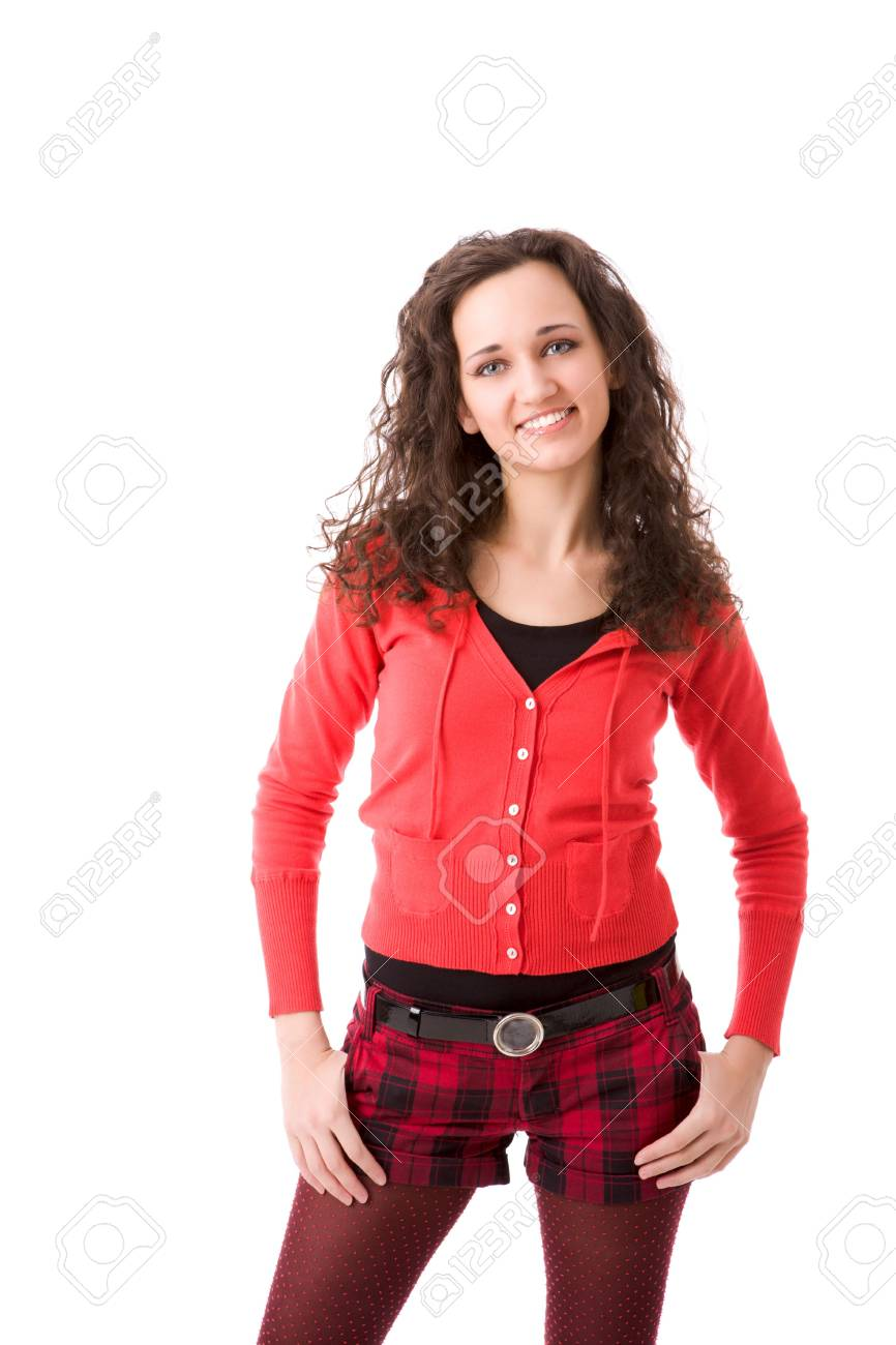 Young cheerful brunette woman portrait isolated on white Stock Photo - 5102390