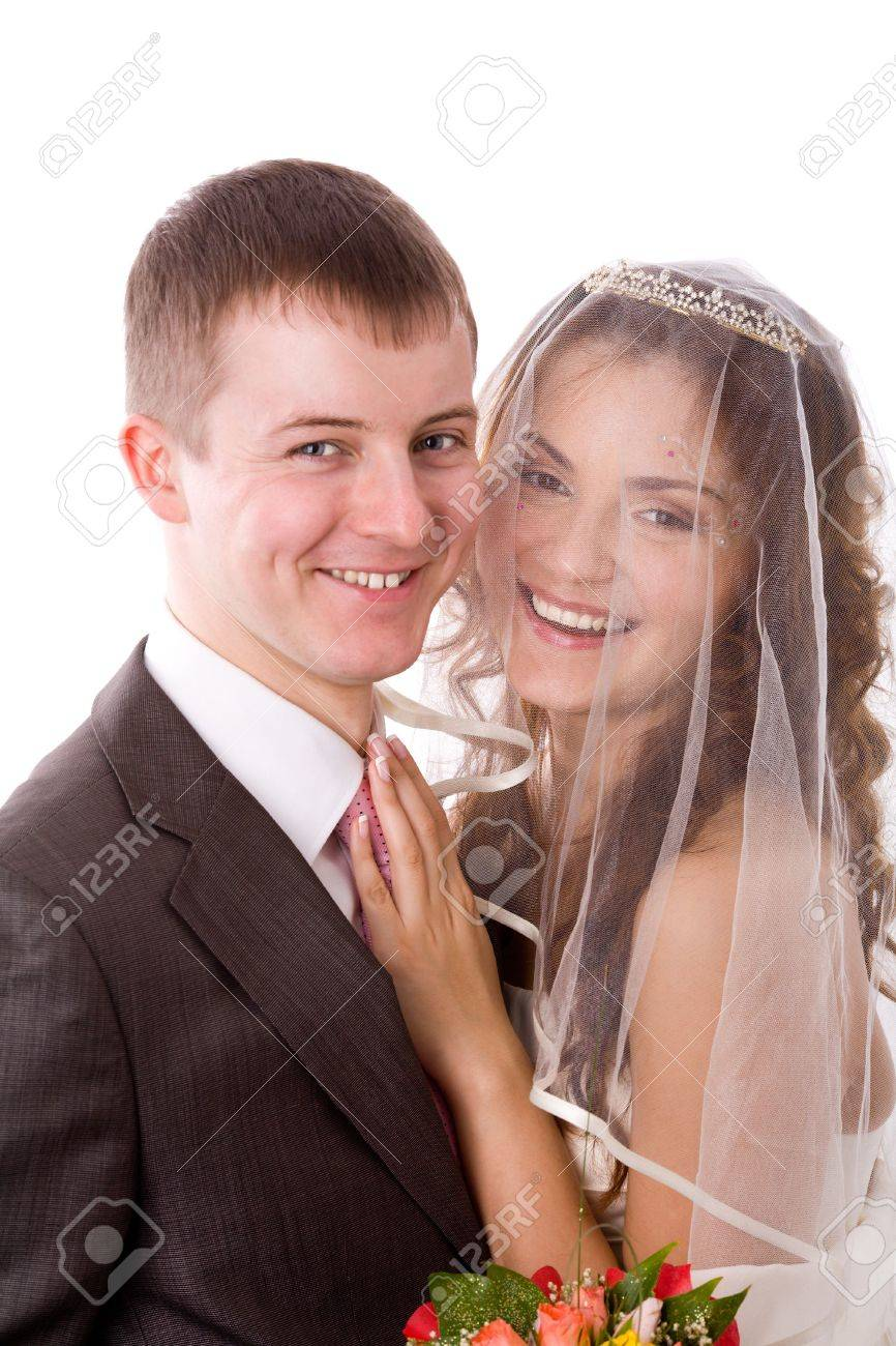 Portrait of Happy New Married couple isolated on white Stock Photo - 5103271
