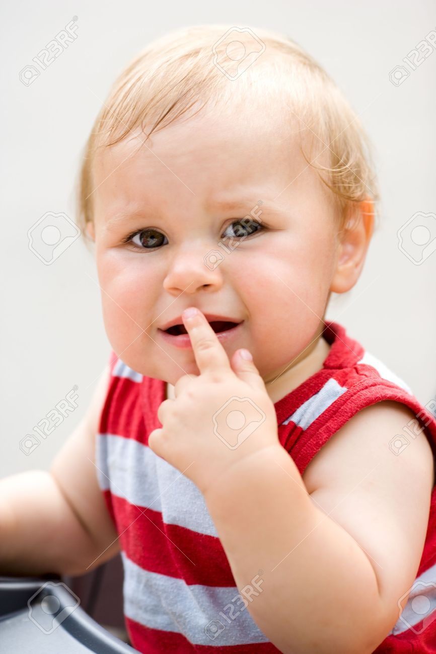 Crying one years baby boy sad face outdoors Stock Photo - 5426637