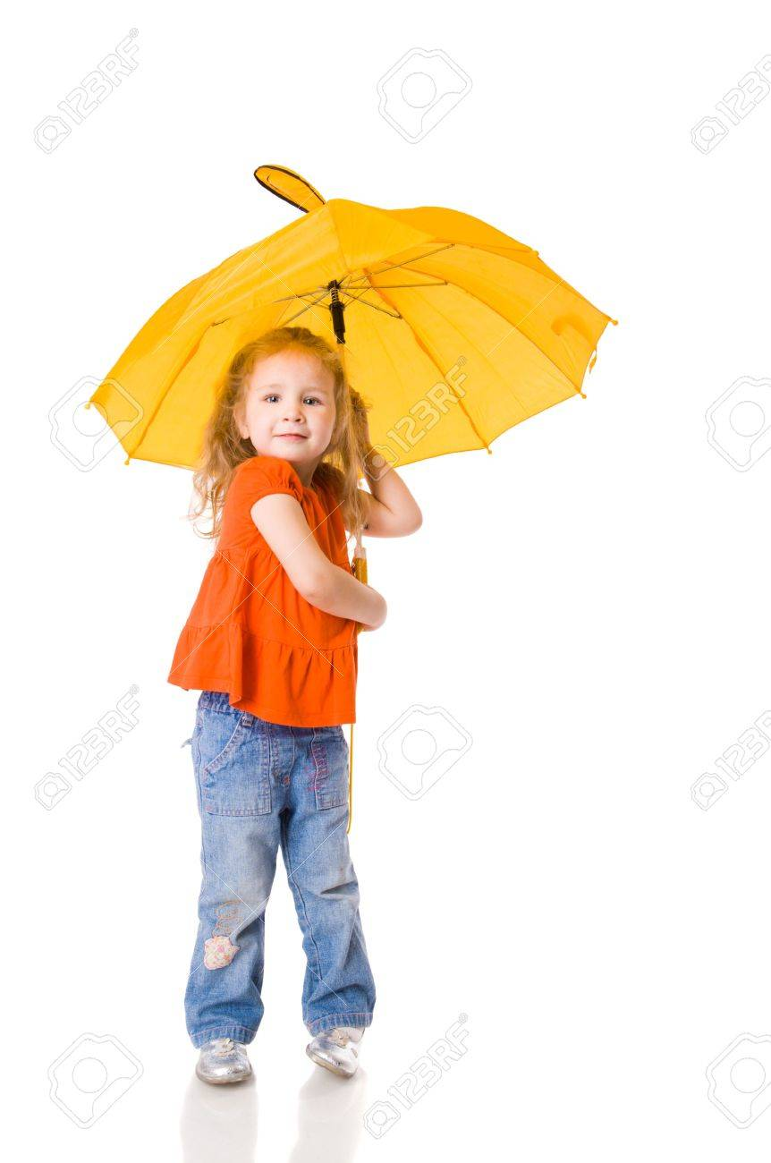 Little Girl standing with umbrella isolated on white Stock Photo - 5504281