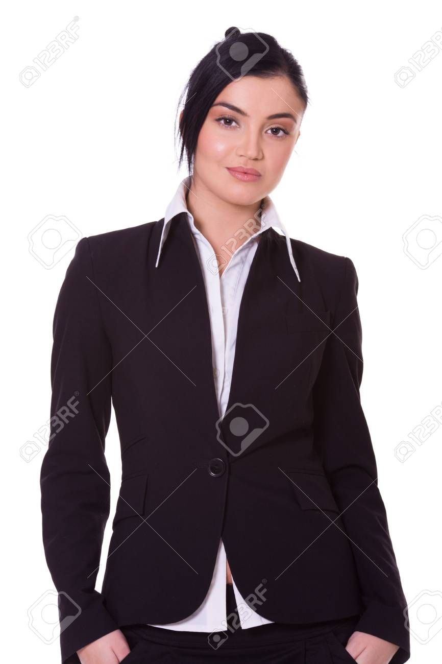Portrait of a beautiful young confident business woman isolated on white Stock Photo - 6083254
