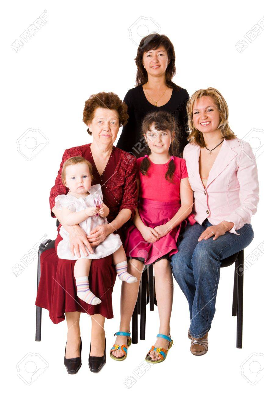 Happy Family five people together isolated on white Stock Photo - 6155521