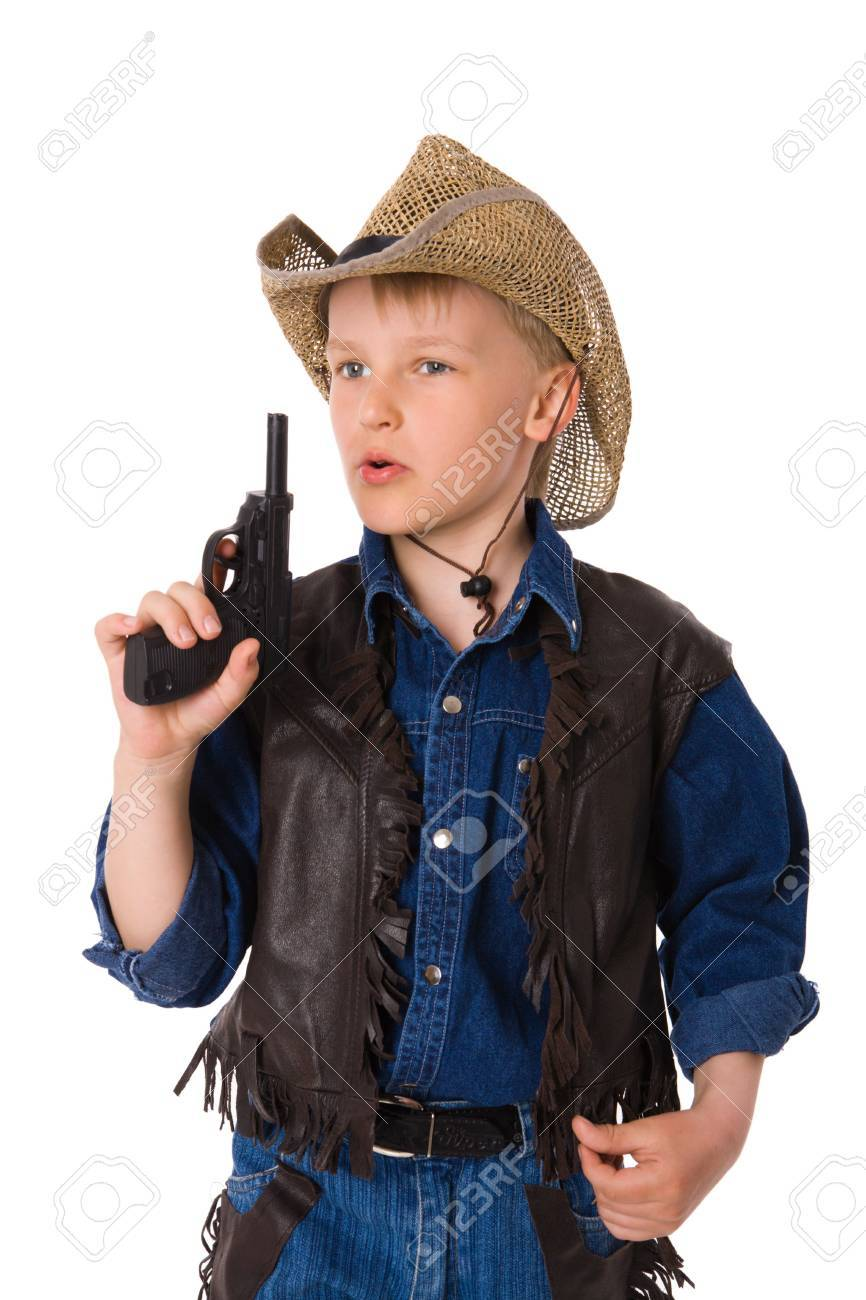 The boy wearing clothes of cowboy isolated on white Stock Photo - 6155442 195664fbec42