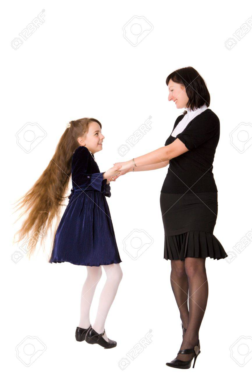 Mother and daughter having fun together isolated on white Stock Photo - 6155468