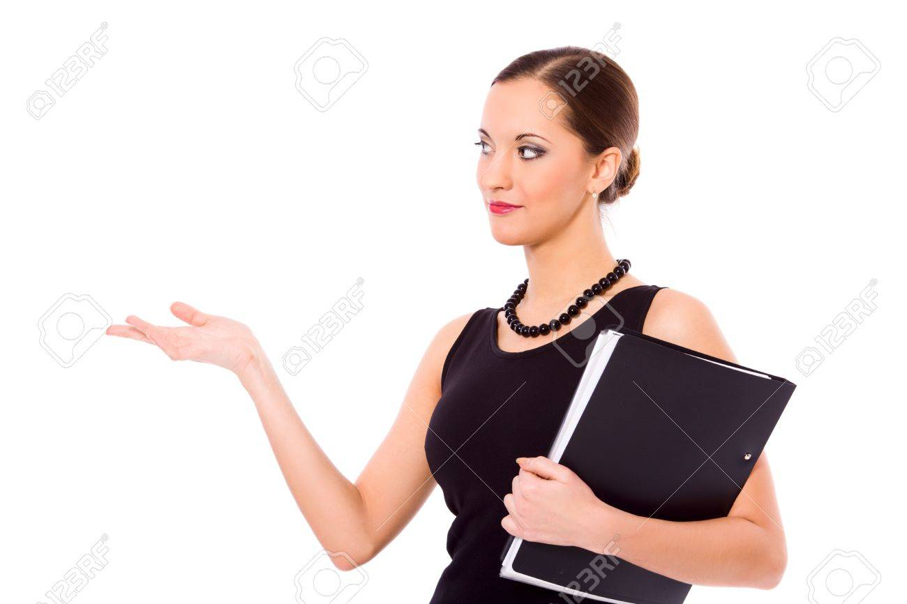 beautiful young confident business woman making presentation isolated Stock Photo - 6321878