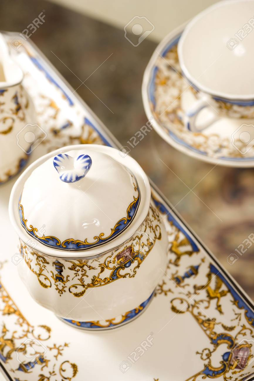 Chinese Tea Set made of porcelain close up Stock Photo - 6504901