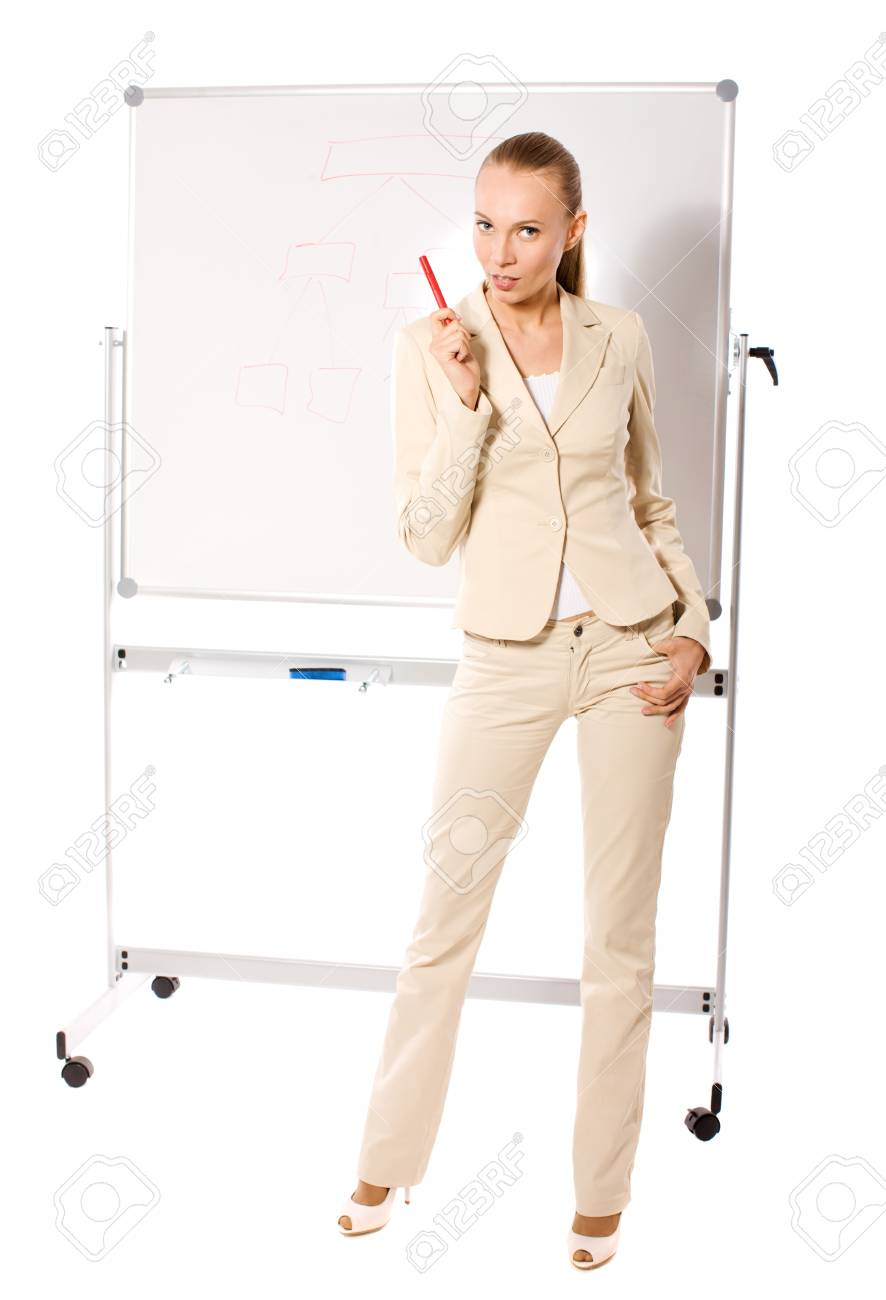 Standing businesswoman making presentation isolated Stock Photo - 7421850