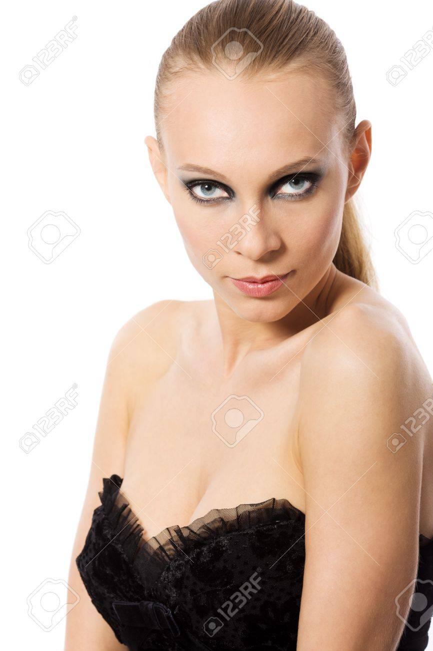 beautiful woman with smokey eyes makeup isolated Stock Photo - 7421878