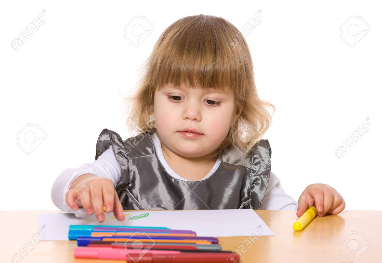 Little Girl drawing picture at table isolated on white Stock Photo - 8252409