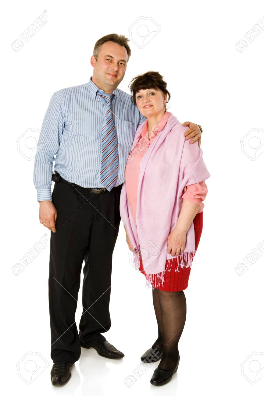 Man with mother standing together isolated on white Stock Photo - 9209222