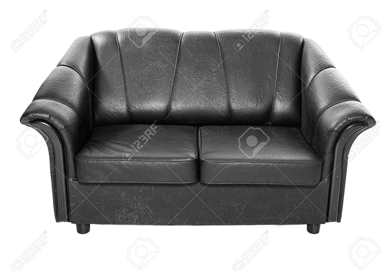 Zwart Leren Bankstel.Comfortabele Zwarte Leren Bank Bank Op Wit Wordt Geisoleerd