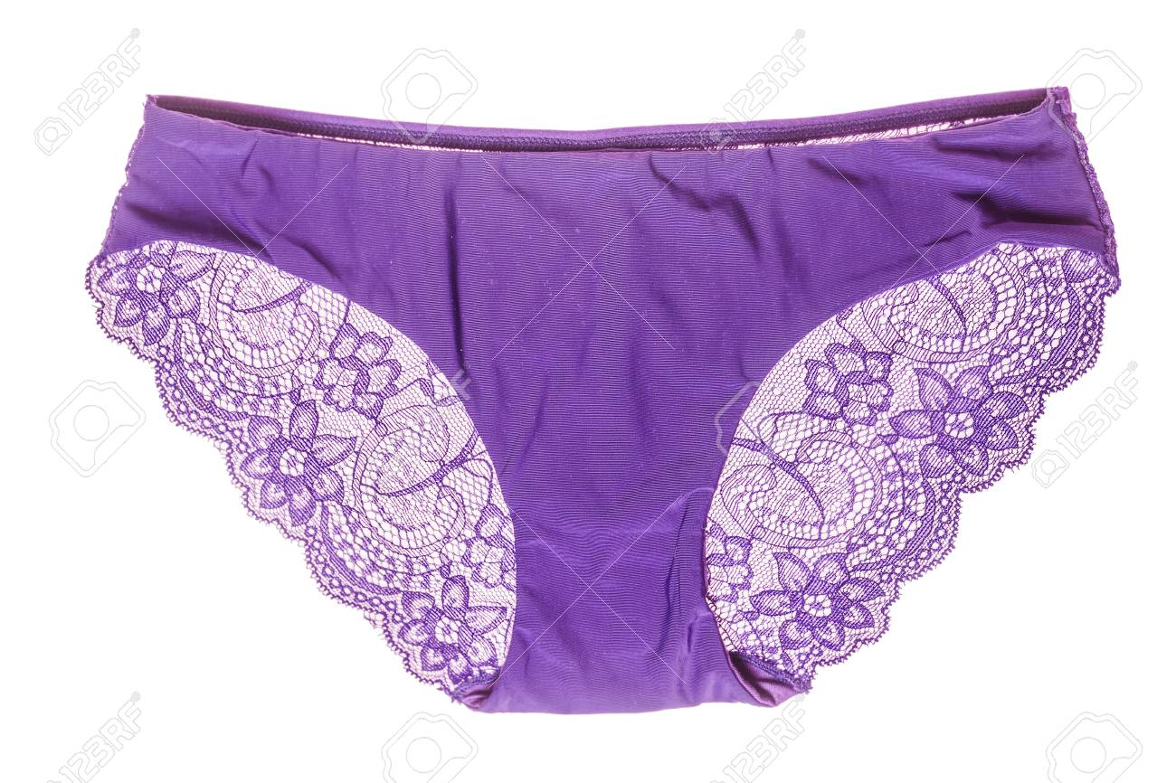 db6c797a1366 Elegant Purple Lace Panties Isolated On White Stock Photo, Picture ...