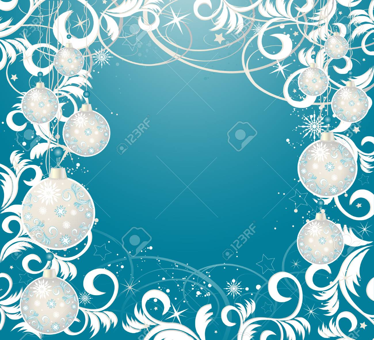 Christmas background with balls, stars and snowflakes Stock Vector - 5713583