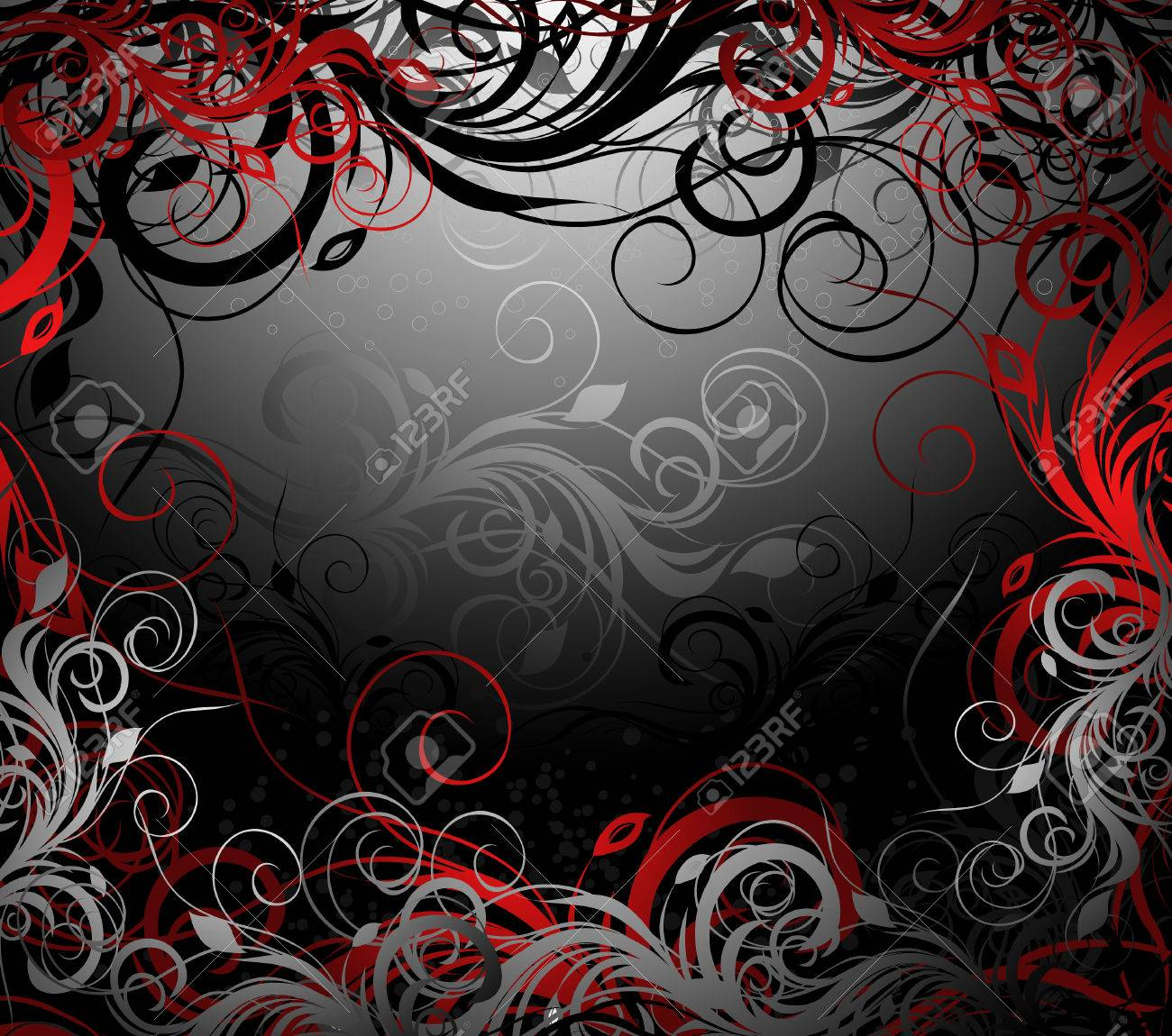 black, red and gold floral background with pattern - 6568151