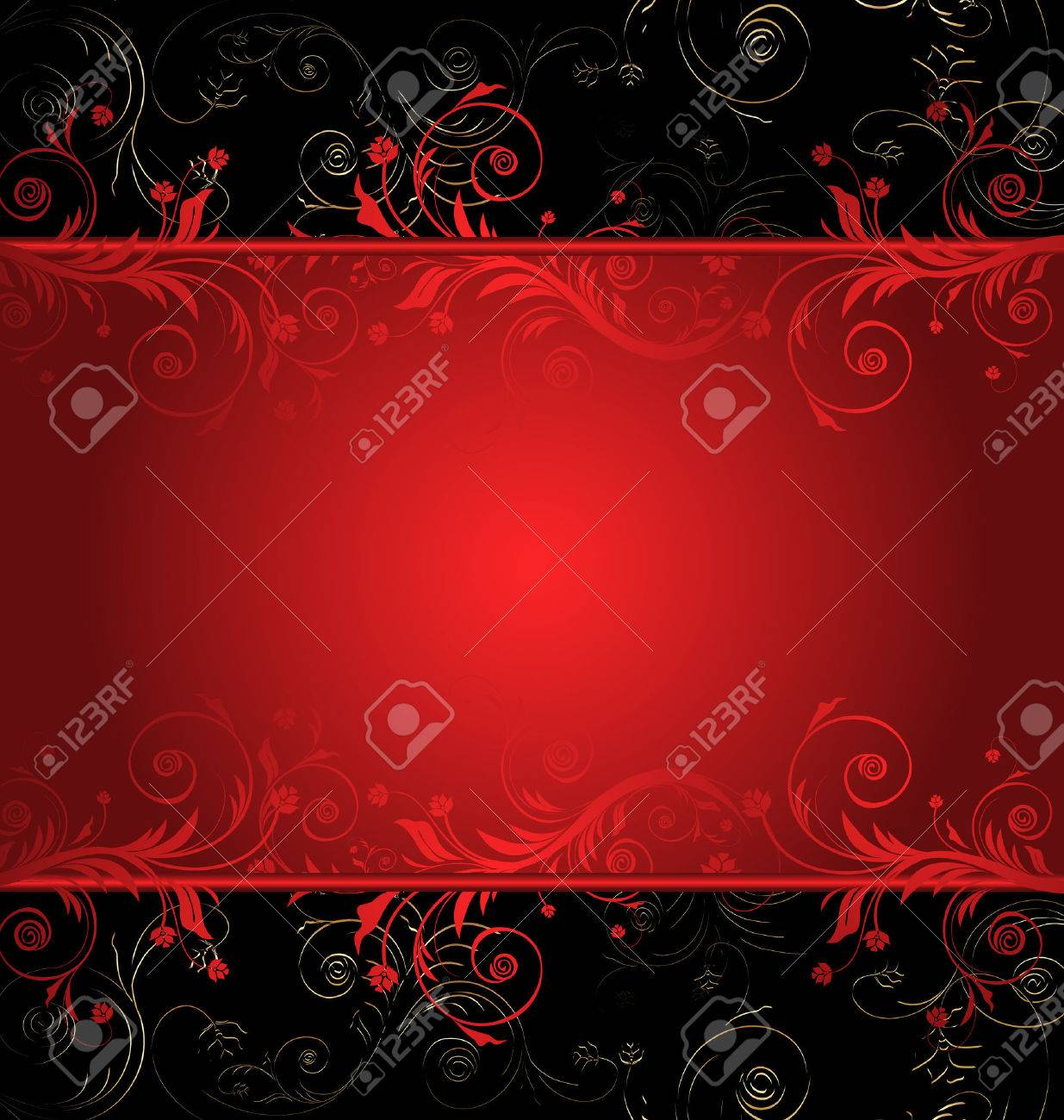 Vector black and red floral background for text with pattern - 6697431
