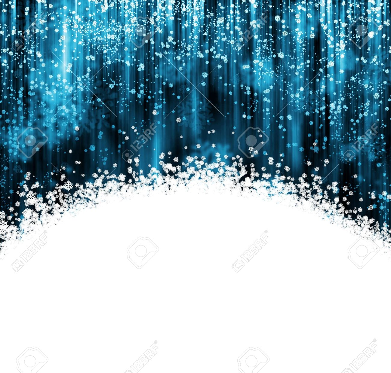 Blue and white Christmas background with snowflakes falling Stock Photo - 7678742