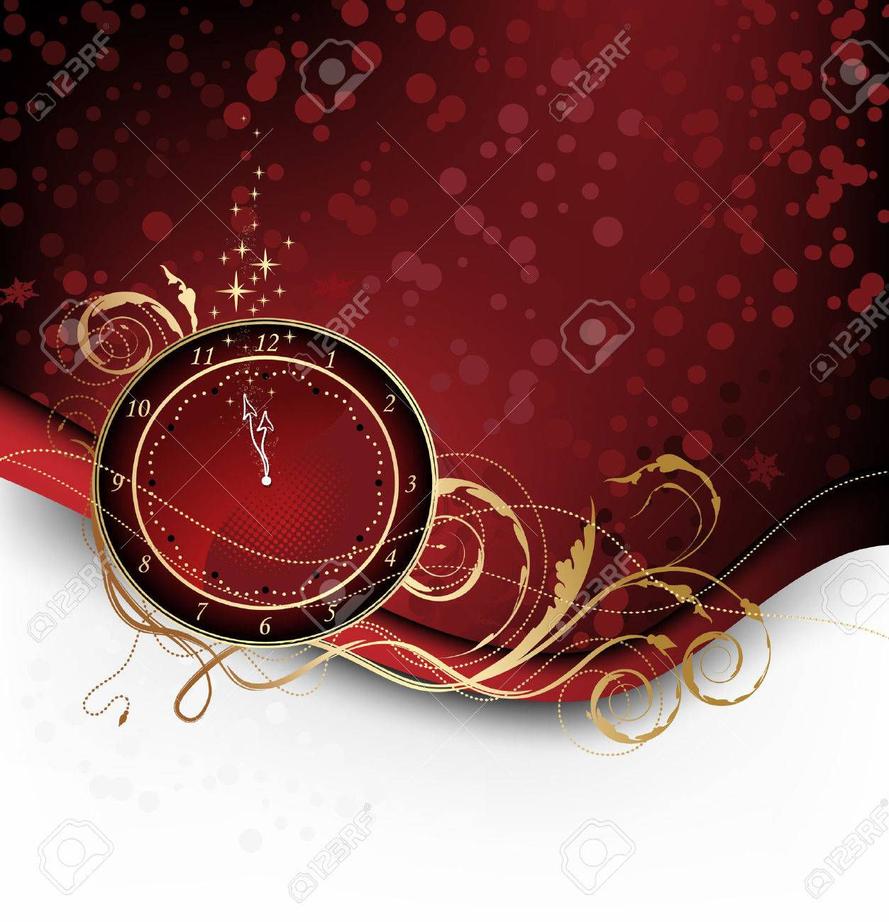 Red Christmas background with candy, stars and clock - 7678743