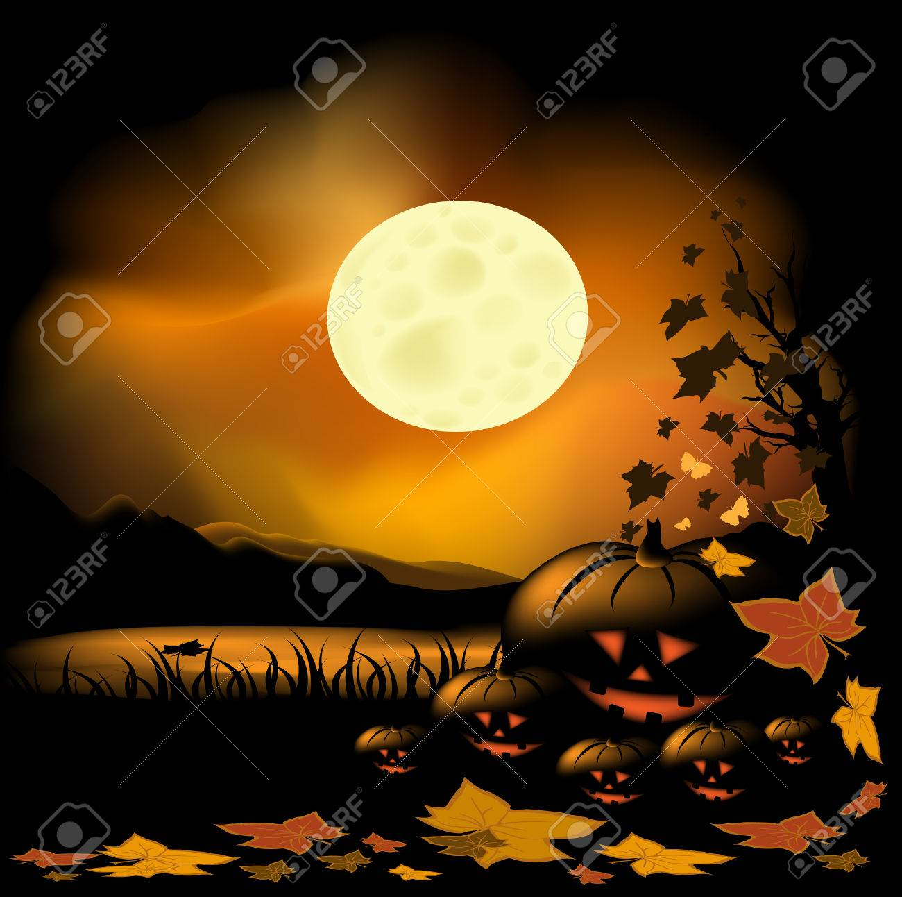 Halloween background with pond, moon and pumpkin - 7678747