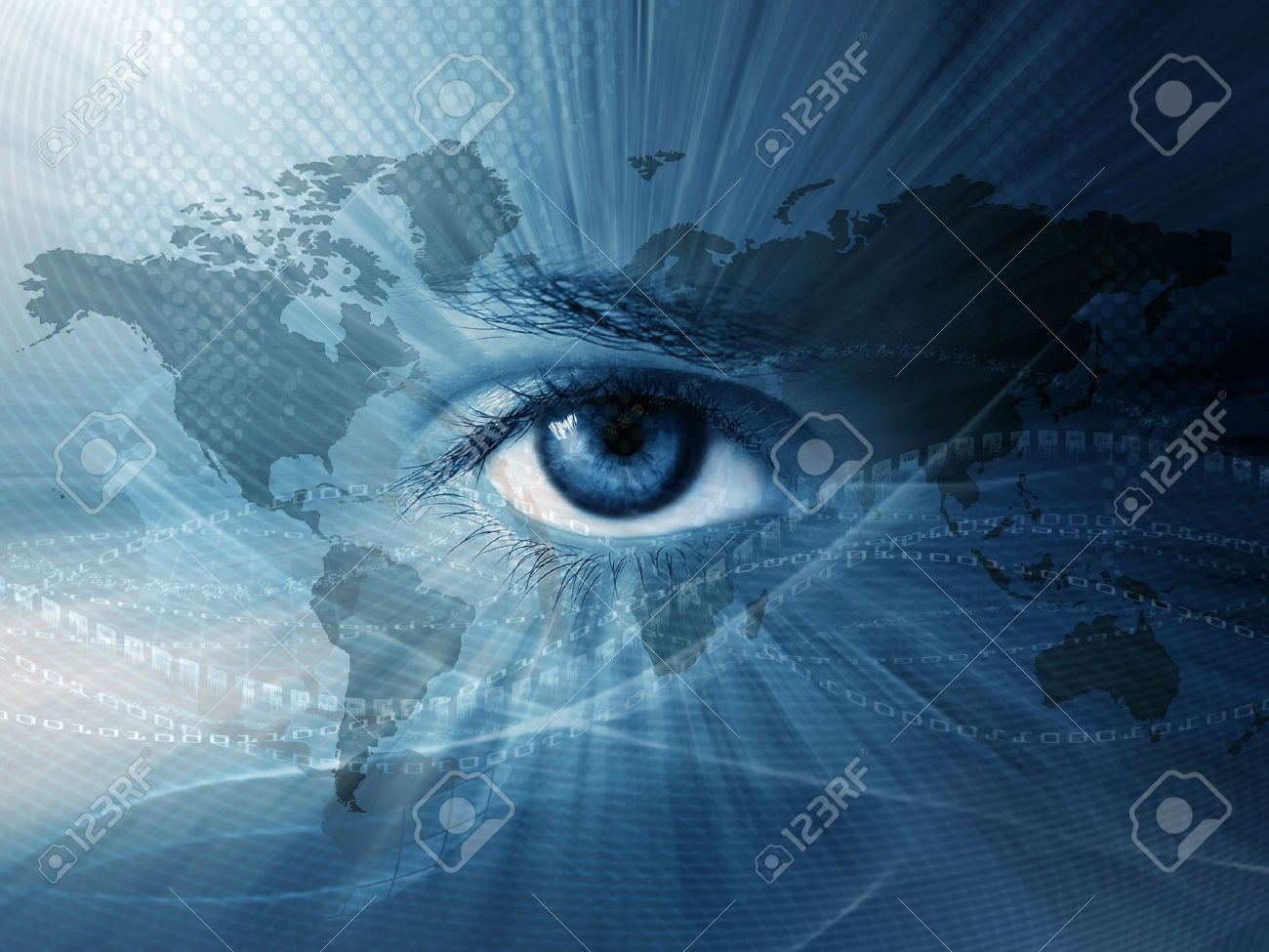 Continental abstract wallpaper with world map and blue eye - 7919321