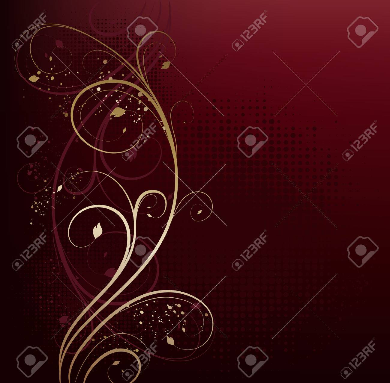 Vector red and gold beauty floral background - 8123374