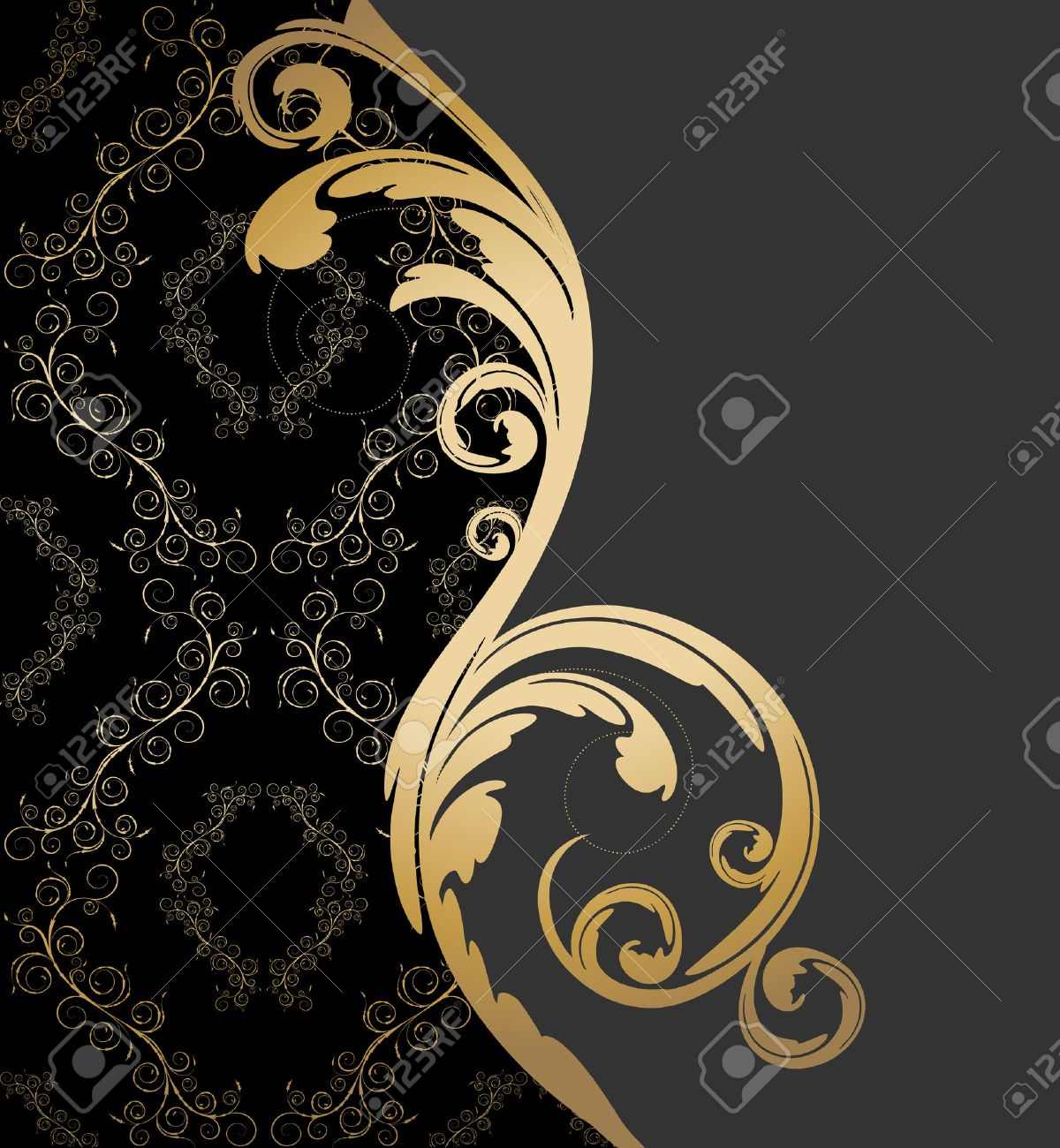 Vector black, gray and gold background with floral wave and ornament - 8423117