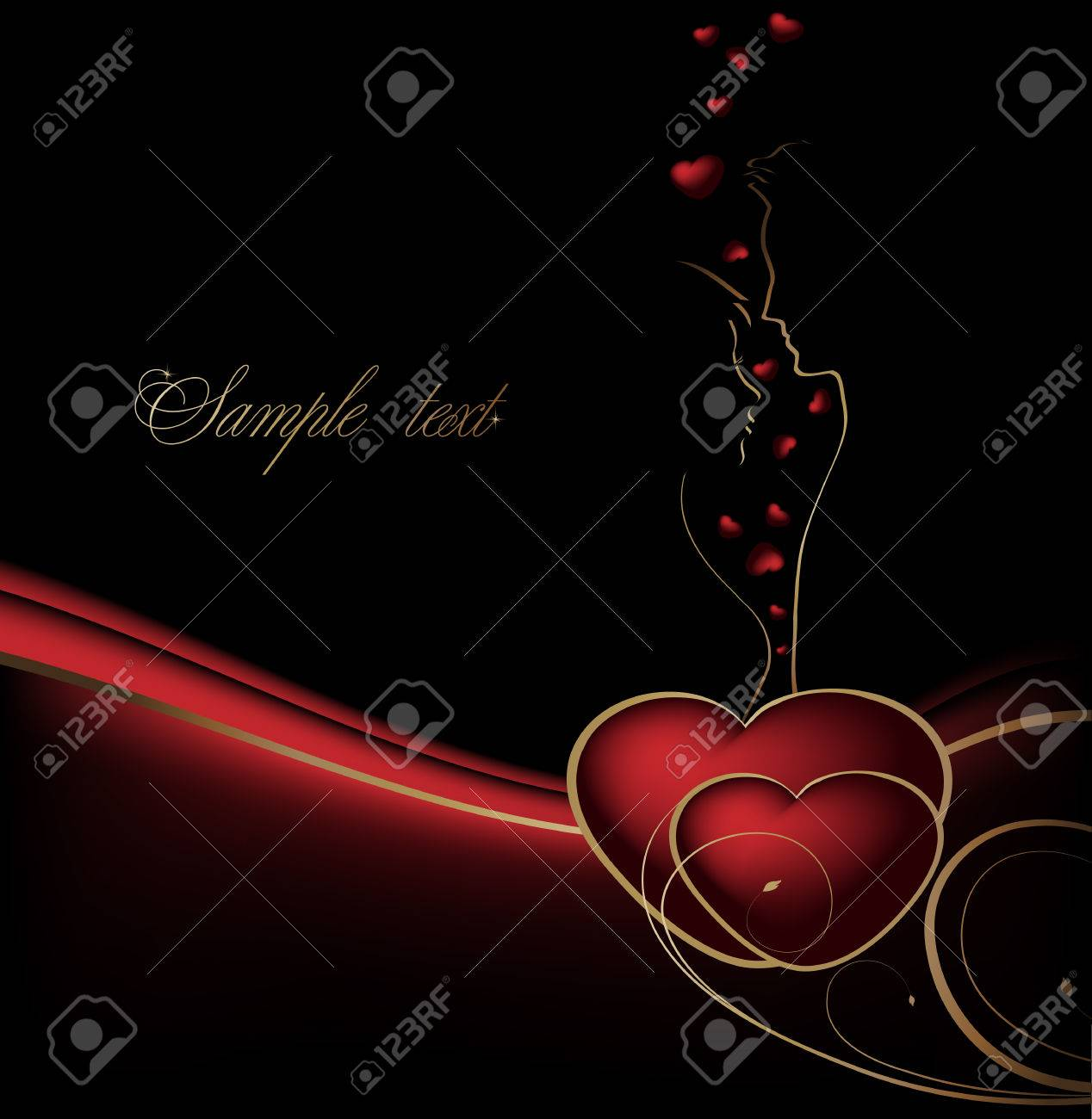 Valentines black, red and gold background with hearts and lovers - 8549073