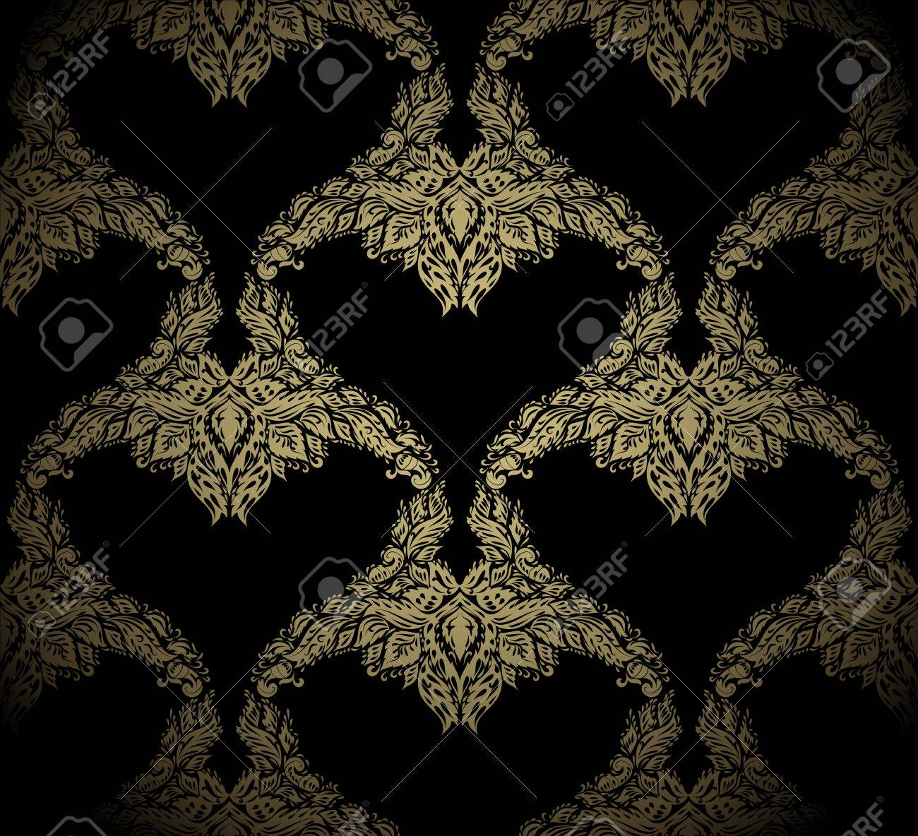 Seamless golden beauty vector ornament on a black background - 8950809