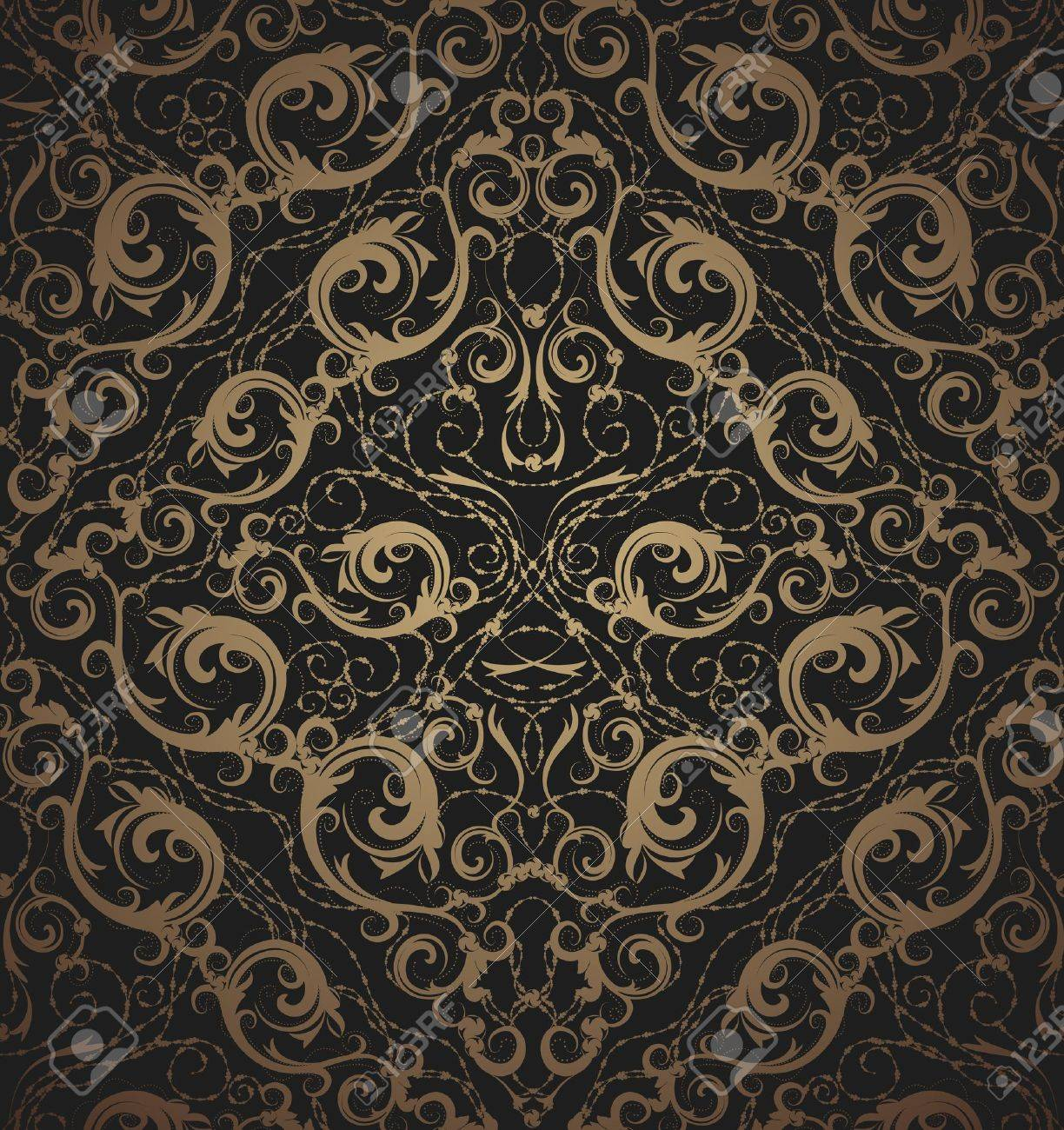 Floral vector black and gold seamless royal beauty ornament - 9523979