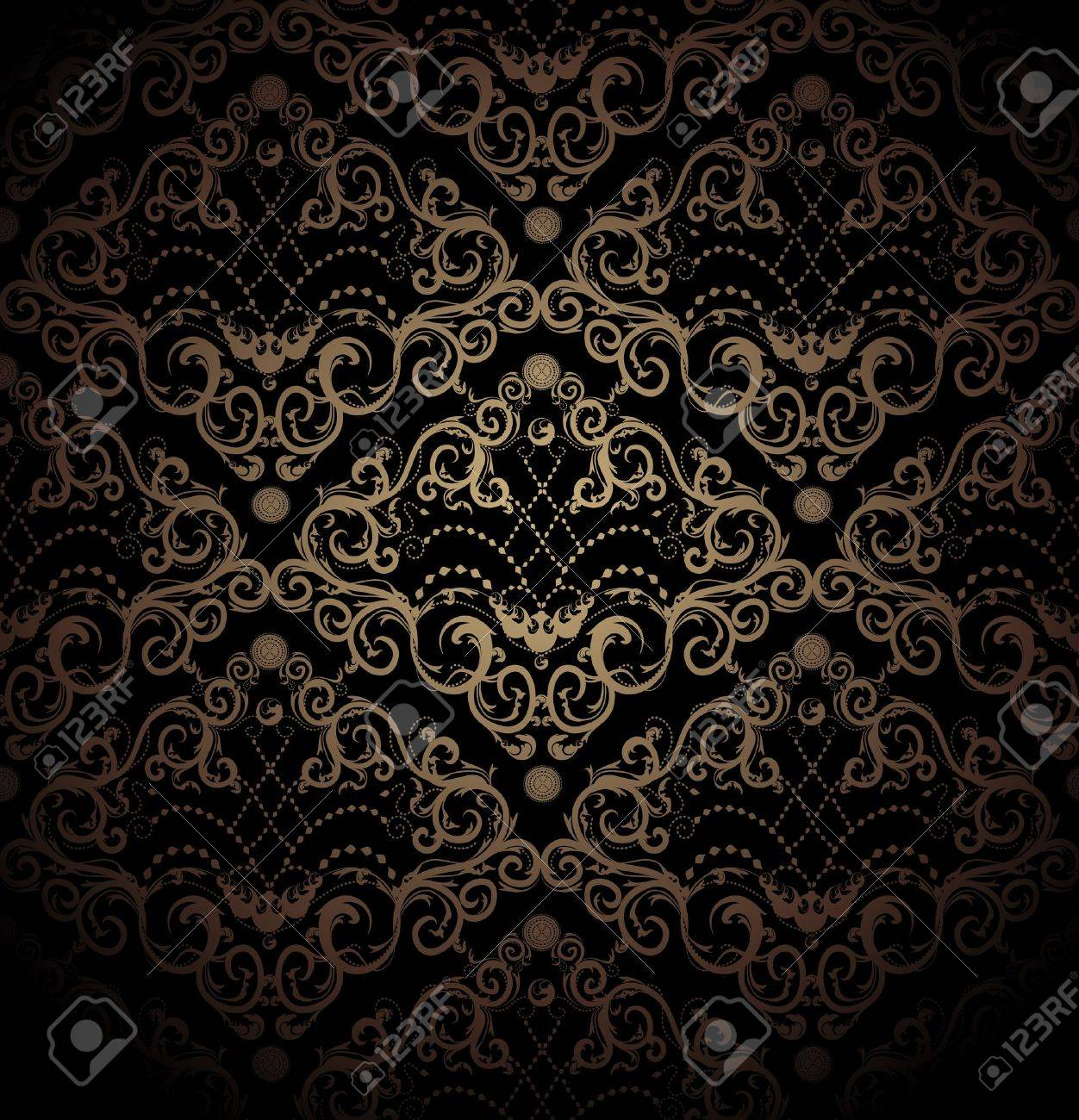 Floral vector black and gold seamless royal beauty ornament - 9523984