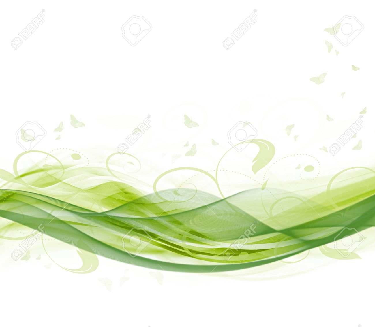 Abstract modern summer white and green background (bitmap) - 9650457