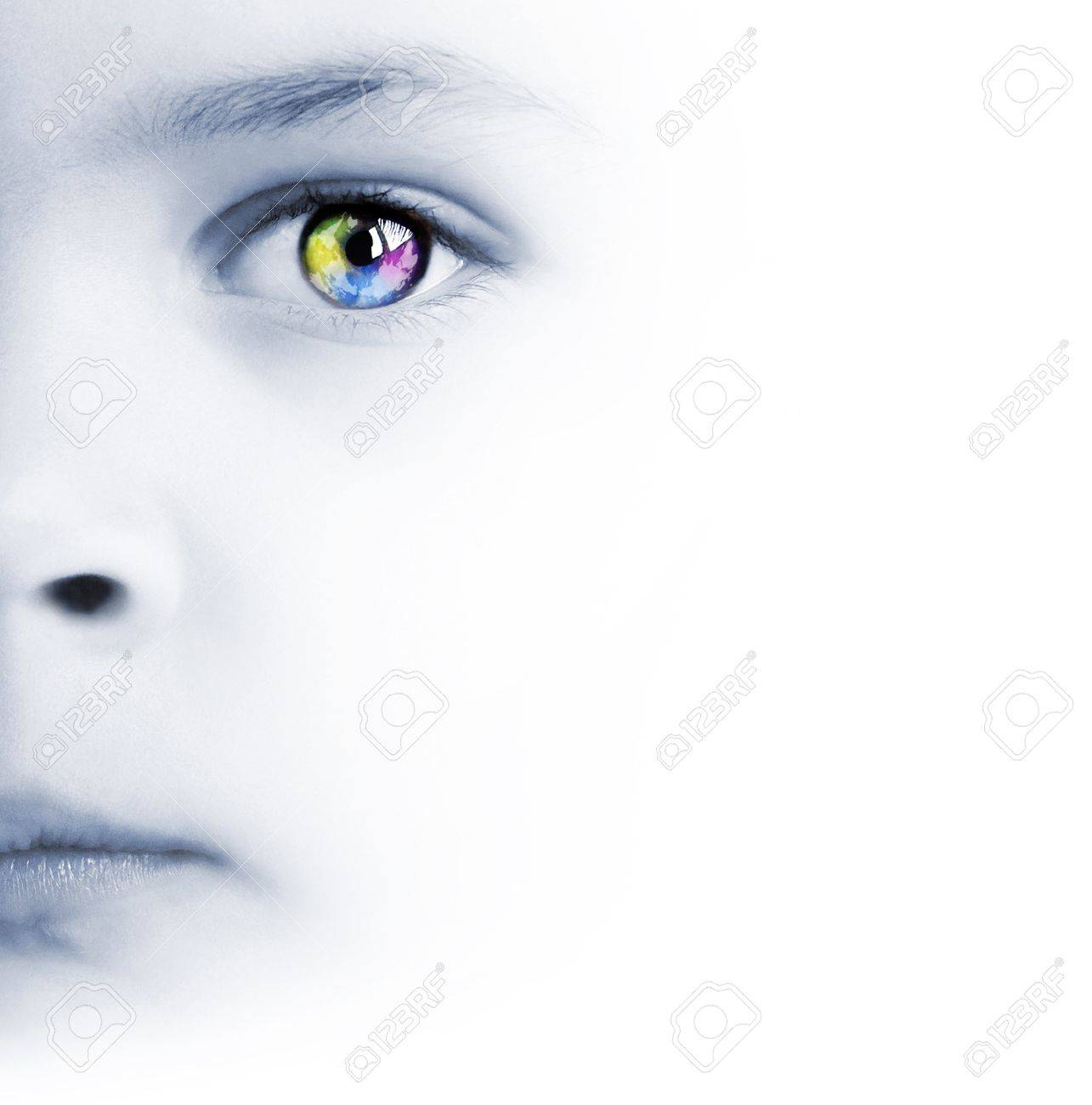 International background with beauty child's face, colorful eye and map - 9893461