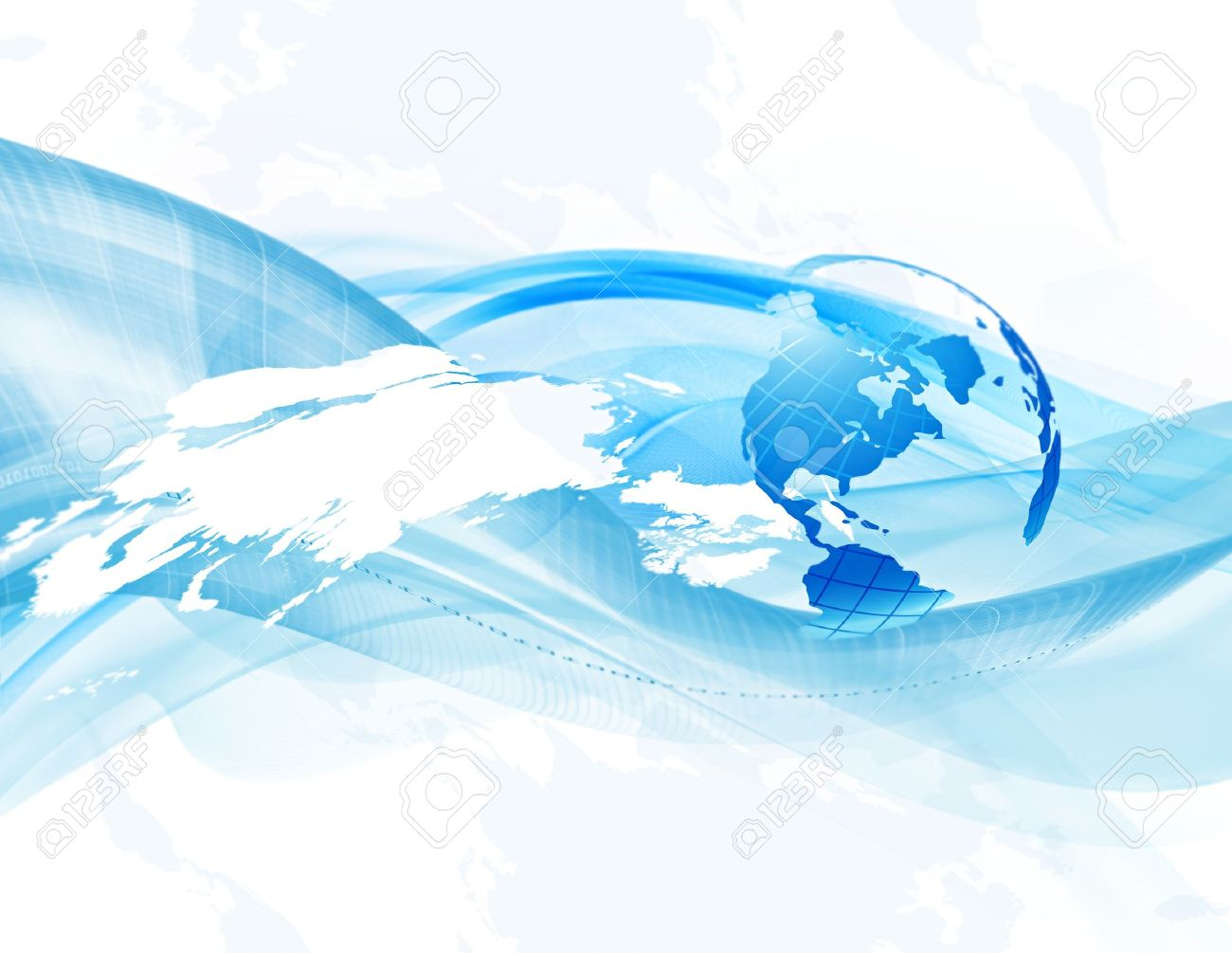 Abstract business background with globe and map (bitmap) - 10135458