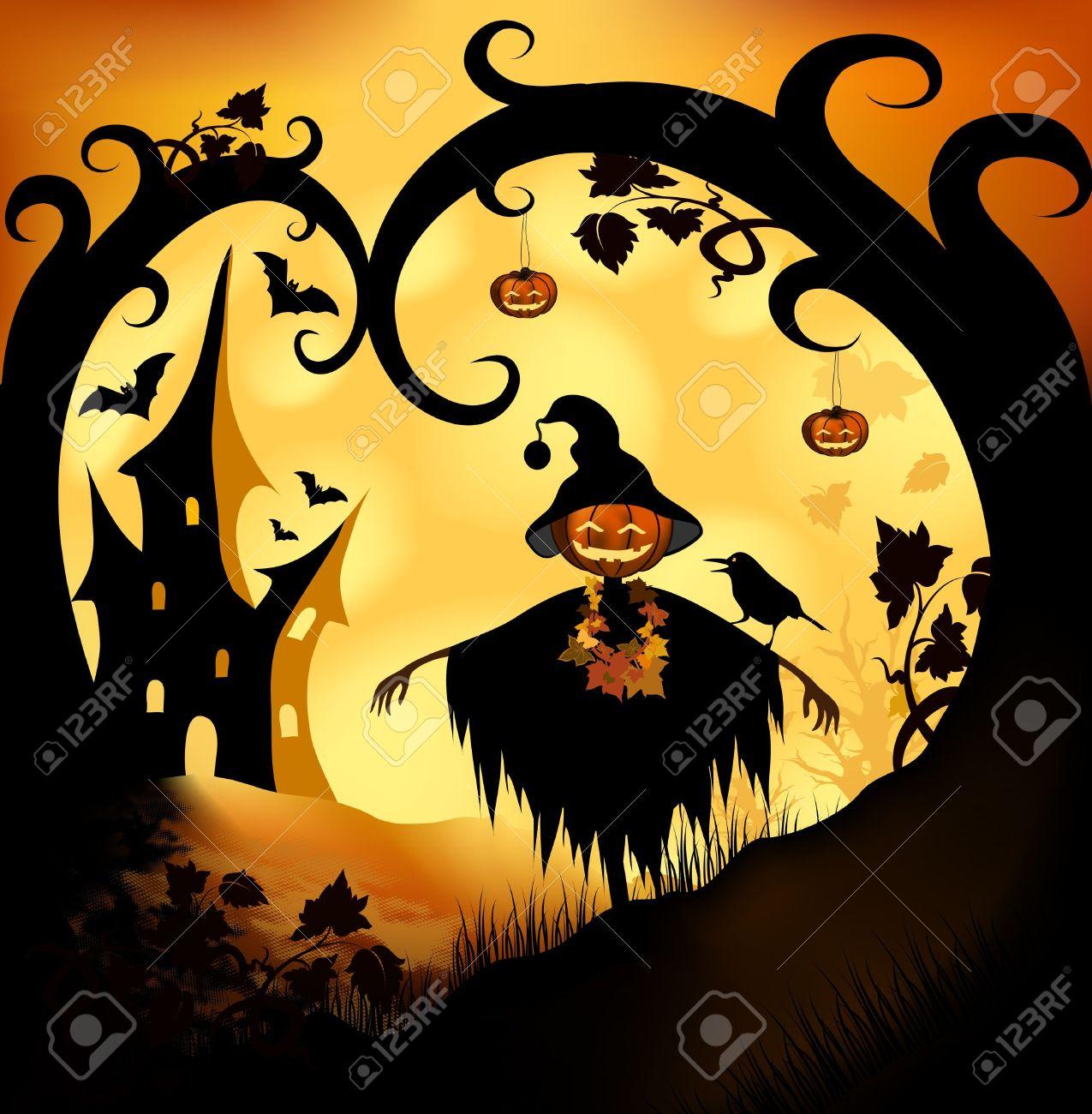 Halloween bitmap illustration background with pumpkin Stock Illustration - 10795311