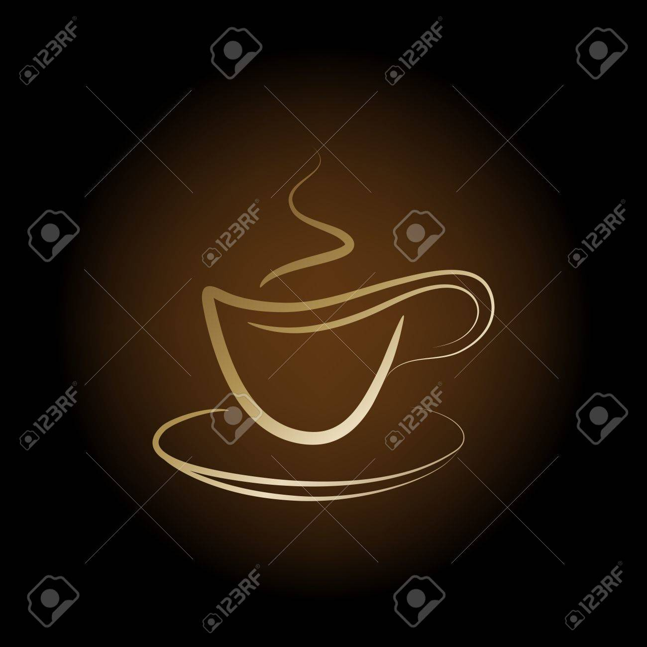 design golden cup off coffee on a brown background - 11671539